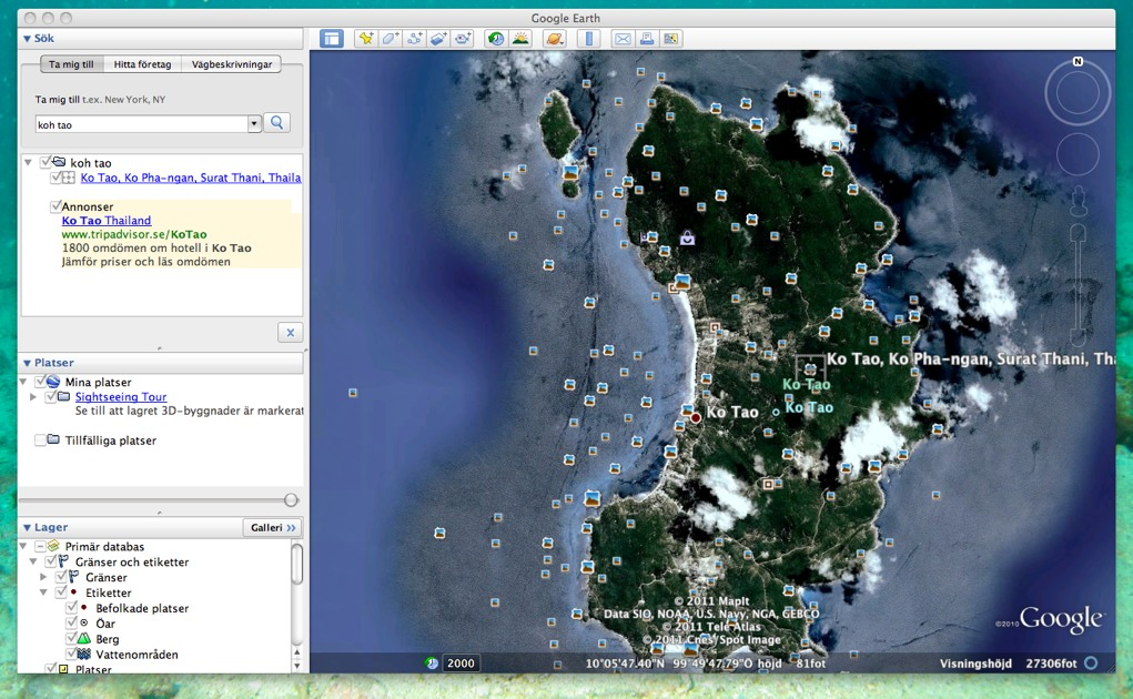 Koh tao, google earth