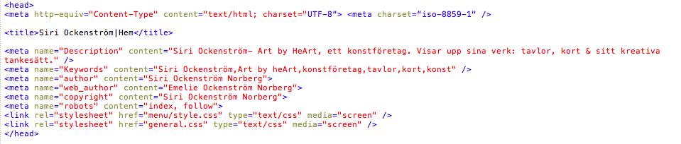Exempel på Metataggar