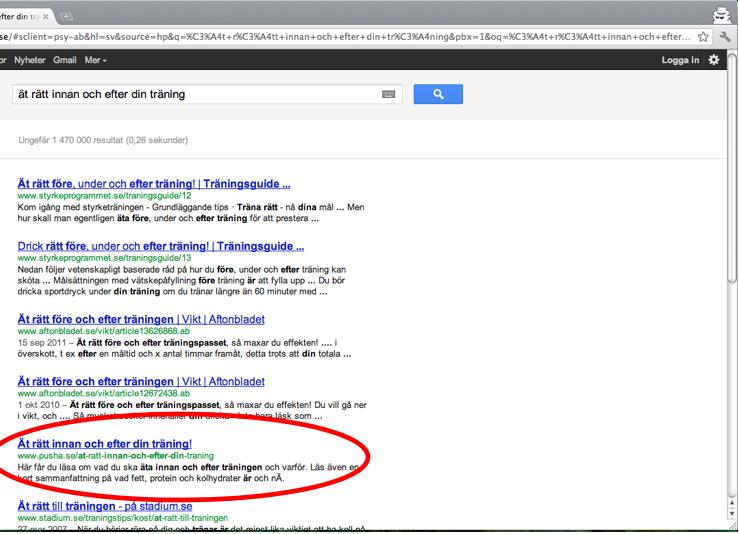 pusha-inlägg i sökmotorn