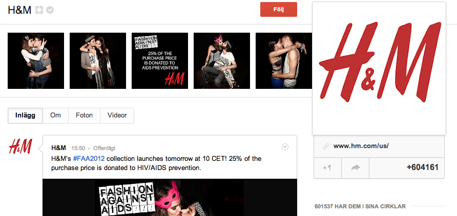 H&M på google+