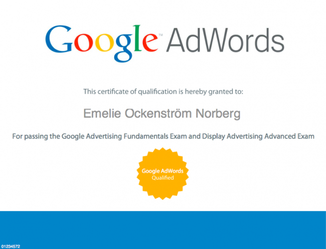 Emelie Ockenström Norberg- Google AdWords certifierad