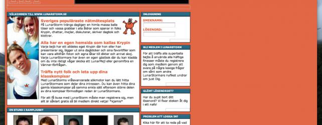 lunarstorm.se webbsida från år 2001