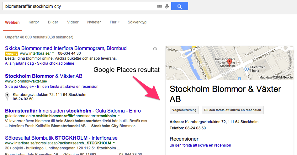 Google places sökning