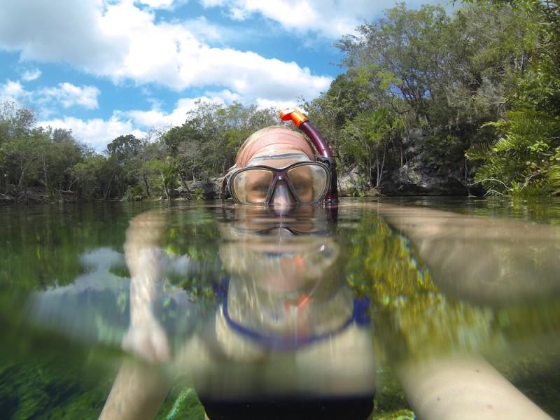 Snorkling cenote i Mexico
