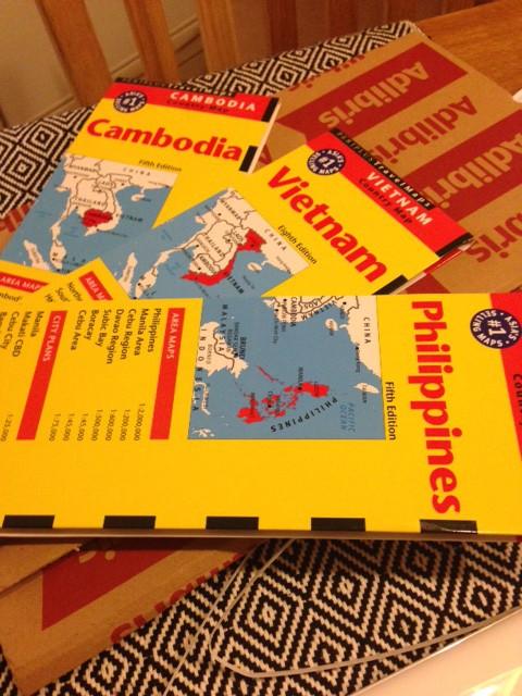 Kartor över Kambodja, Vietnam och Filippinerna