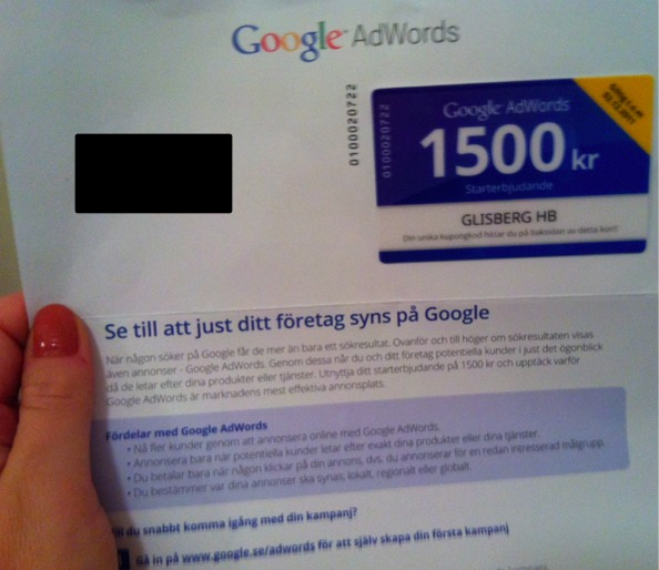 Google adWords annonserbjudande