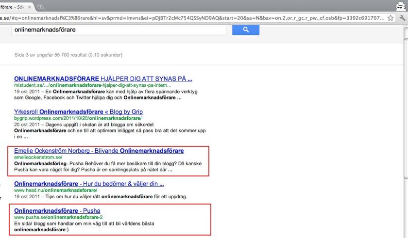 skärmdump på ordet onlinemarknadsförare